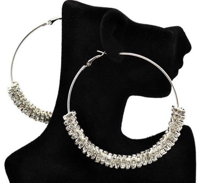 Free shipping 2pcs(1pair)/lot, Silver Plated Basketball wives earring, Clear Rhinstone Spacer Beads Wives Hoop Bling Earrings