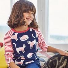 Sale Retail brand 2017 girls t shirt Spring Autumn baby girls  cotton kids clothes children's apparel Cartoon cats jumping