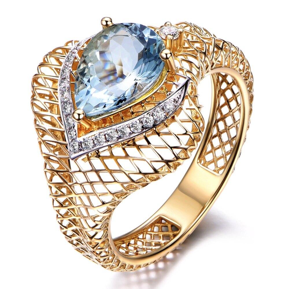 MYRAY 14k Yellow Gold Pear Shape Blue Aquamarine Gemstone Diamond Engagement Ring Wedding Anniversary Gift Women Antique Rings