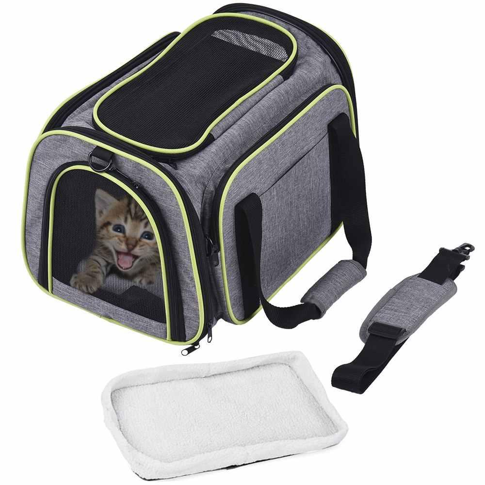 Dadypet Transportadora Para Animais de Estimação Portador Do Gato Do Cão Nylon 600D Material de Viagem Dobrável Saco de Portador Do Cão com Tapete de Lã Fácil de Transportar em bagagem