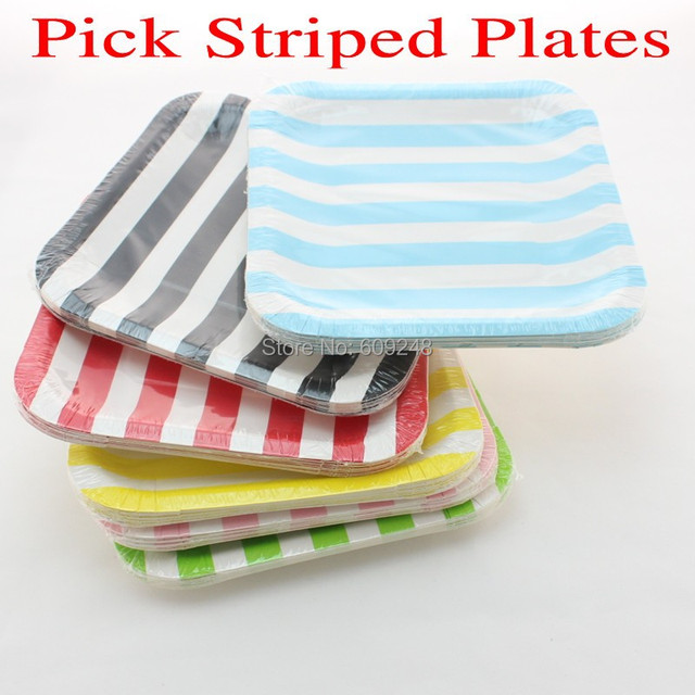 24pcs 7  Mixed Colors Black Blue Red Green Yellow Pink Striped Party Square Paper Plates  sc 1 st  AliExpress.com & 24pcs 7