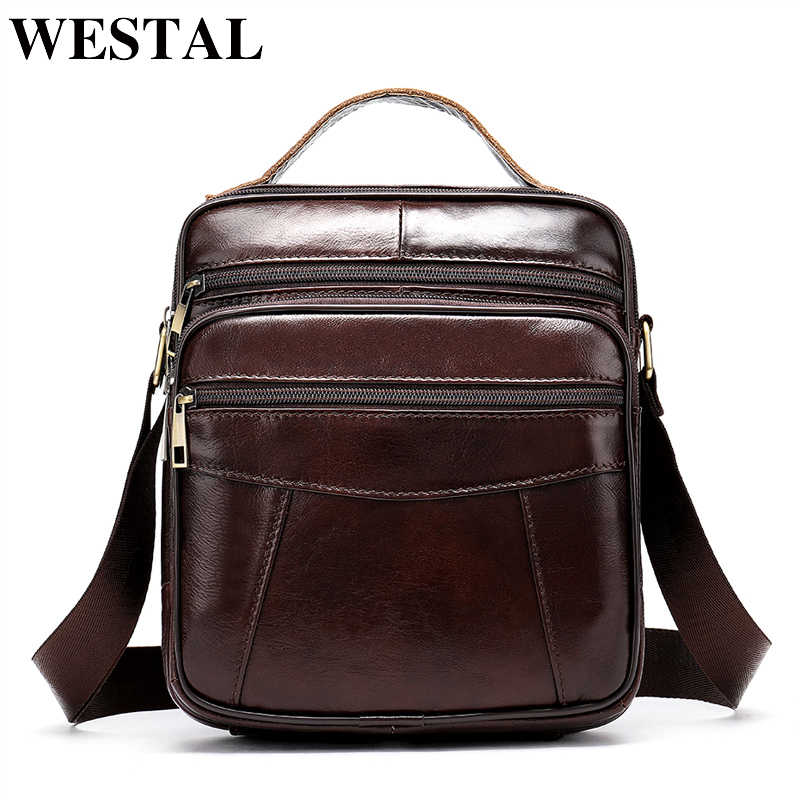WESTAL Men's shoulder bag genuine leather bag for men messenger bags Flap zipper designer male Crossbody Bags handbags 8318