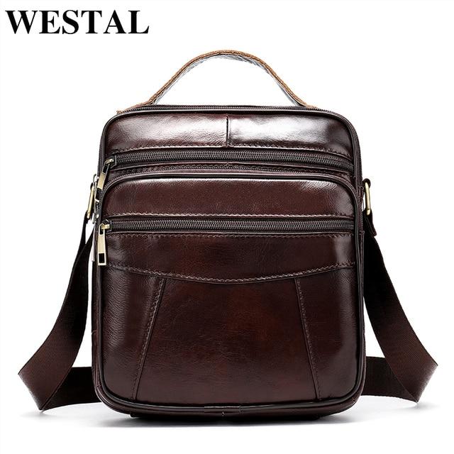 WESTAL Men's shoulder bag genuine leather bag for men messenger bags Flap zipper designer male Crossbody Bags handbags 8318