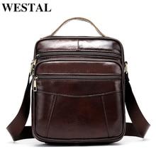 WESTAL الرجال حقيبة كتف حقيبة جلدية موضة حقيبة ساع رفرف زيبر مصمم الذكور الصلبة crossbody حقائب هبوط السفينة 8318