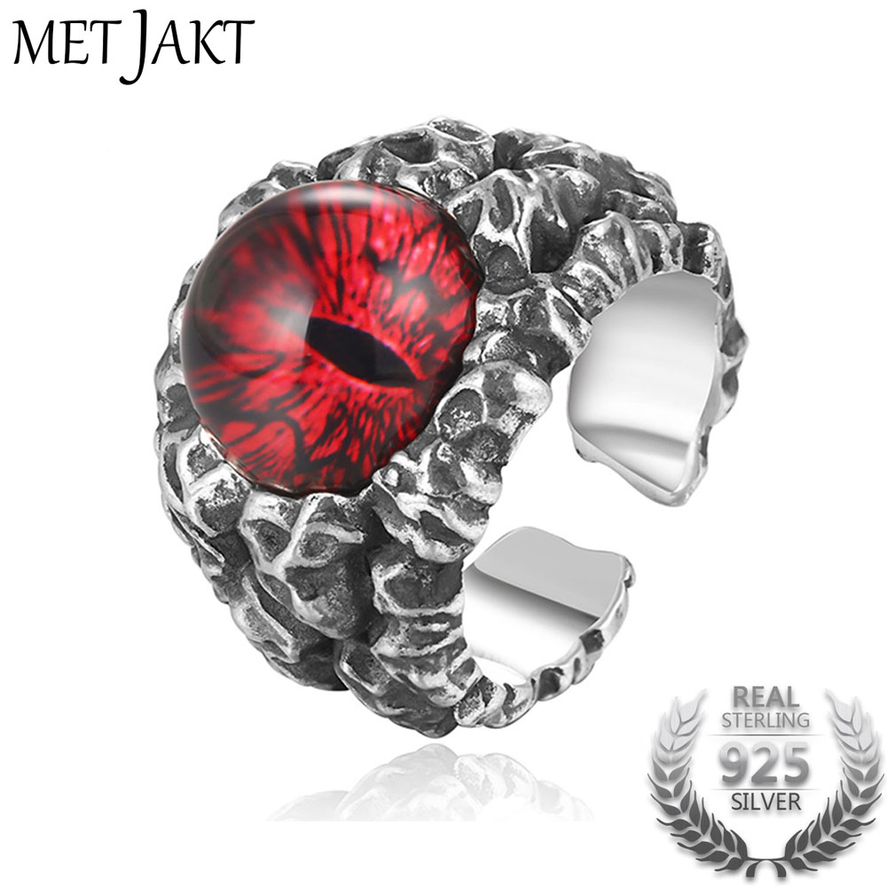MetJakt Solid Real 925 Sterling Silver Ring & Hyperbole Ghost Eye Open Ring for Men Vintage Punk Rock Thai Silver Jewelry alloy tooth eye rock ring