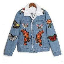2016 Women winter jacket Tiger Butterfly Flower Bird Animal Pattern Embroidery Denim cashmere winterJacket fur Coat Outwear