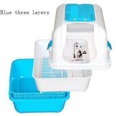 Кошка песок бассейна закрытым Туалет двойной закрытым большой кошачьих туалетов коробка большая кошка судно douwei продукции Cat Размеры: 51*40*38....