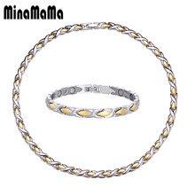 Здоровье Энергия нержавеющая сталь магнитные ювелирные наборы для женщин мужчин лечение артрита медицинский браслет и ожерелья