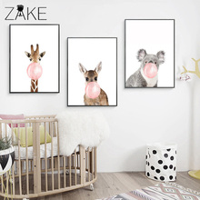 Kawaii Woodland Animal Posters and Prints Giraffe Zebra Deer Canvas Art Painting Wall Nursery Picture Nordic Kids Decoration