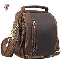TIANHOO 100% genuine leather messenger bags retro cow leather man bag corssbody handlebags multifunction high school bags totes