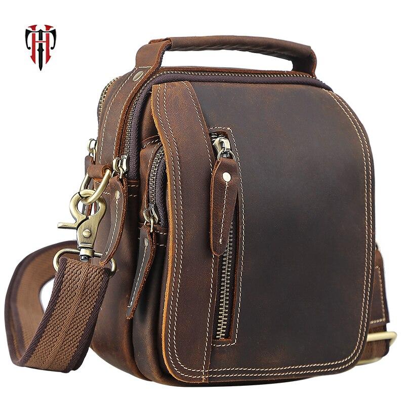 TIANHOO Mini messenger bags retro cow leather man bag corssbody handlebags multifunction high school bags totes все цены