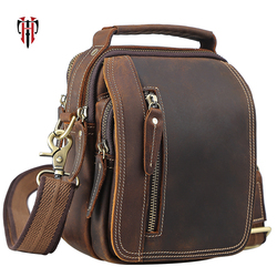 Tianhoo 100% couro genuíno sacos do mensageiro retro couro de vaca homem saco corsbody handbags multifunction high school sacos totes