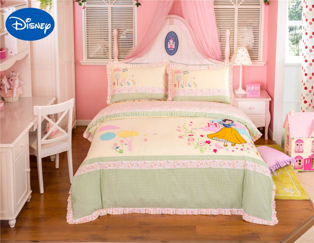 Lace Snow White Princess Bedding Set Girl's Baby Bed Sheet Disney Cartoon Cotton Fabric Applique Embroidery Full Queen Size Pink
