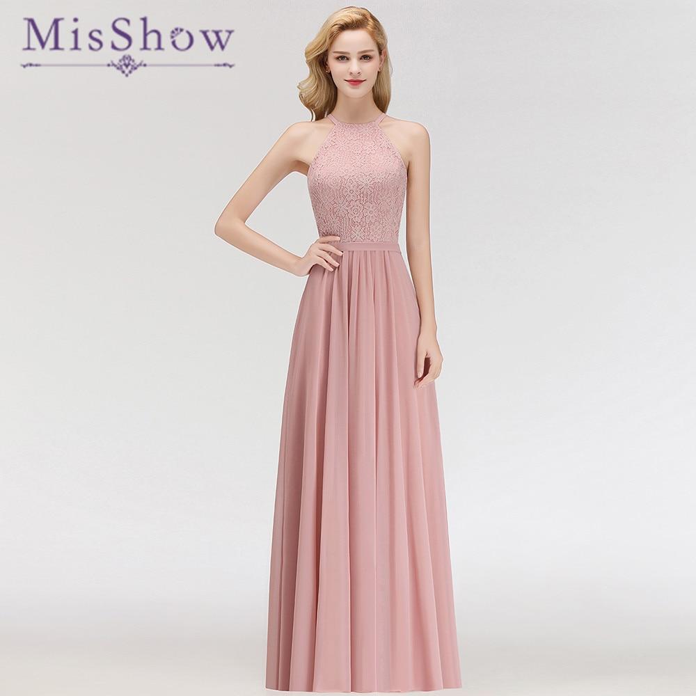 Elegant Blush Pink Halter Floor Length   Bridesmaid     Dresses   A-line Lace Top Sleeveless Wedding Party   Dress   Elegant for Women