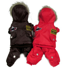 2016 New Winter Dog Pet Coat Clothes Padded Hoodie Jumpsuit Pants Costumes Plus Size XS-4XL