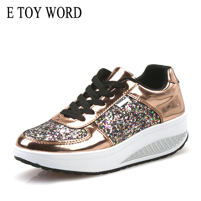 E TOY WORD 2019 New Ladies Wedges Sneakers Bling Sequins Shake shoes fashion sneakers tenis feminino plataforma women shoes