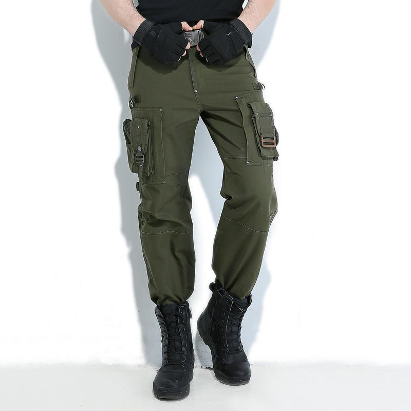 Europe Freedom Knight Outdoors Cargo Pants Multi Pocket Jersey Men Army Green Military Hiking Camping Long Trousers
