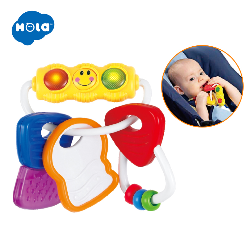 HOLA 306 Baby Silicone Teethers BPA Free For Toddler 0-12 Months Baby Rattle Key Teether Toys For Newborns Early Educational Toy