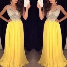 MZ-MSRHS Yellow Prom Kleider 2017 Sexy Kristall Perlen Top Abend Party Robe De Soiree A-Line Chiffon Formale Kleider