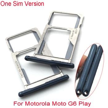 10 unids/lote Dual/Single Sim bandeja para Motorola Moto G6 jugar bandeja de la tarjeta SIM ranura titular de la parte de reemplazo