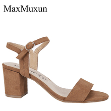MaxMuxun Women Sandals Ankle Strap Buckle Mid Block Heels Ladies Open Toe Fashion Dress Summer Shoes maxmuxun women shoes comfort slip on classic high platform wedge sandals 2018 summer ladies open toe buckle strap thick shoes