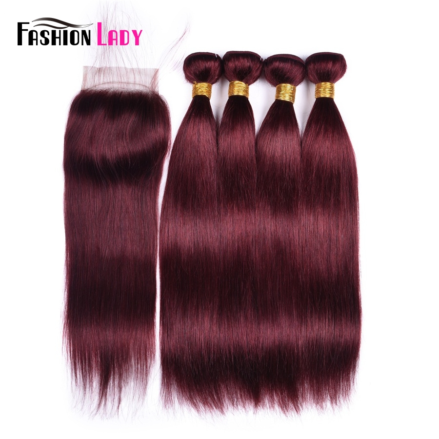 Fashion Lady Pre Colored Dark Red Bundles With Closure 99j Mahogany Brazilian Straight Hair Bundles With