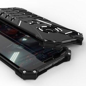 Image 3 - יוקרה באטמן Kickstand עמיד הלם מקרה עבור Huawei Honor 10 לייט אלומיניום פגוש עור שריון מתכת כריכה אחורית