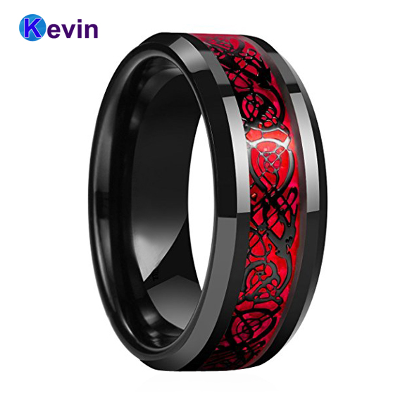 Black Mens Wedding Ring Dragon Ring Tungsten Carbide Ring With Red Opal And  Black Dragon Inlay d87a38259672