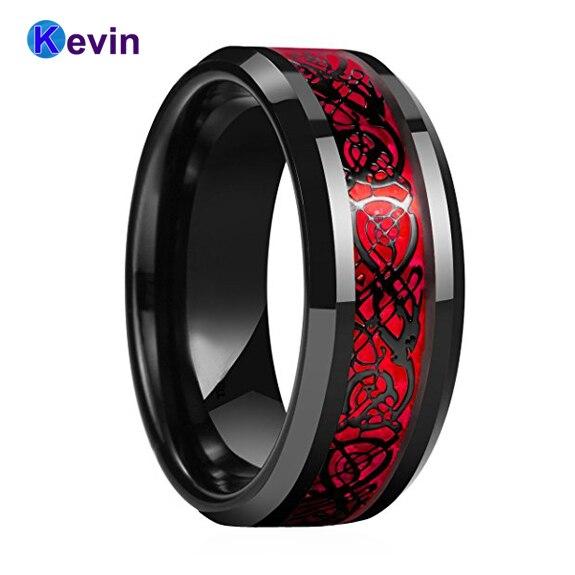 Schwarz Herren Ehering Drachen Ring Hartmetall-ring Mit Rot Opal Und Schwarz Drache Inlay