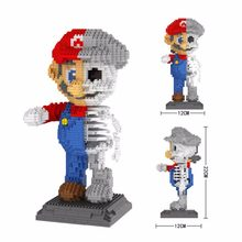 hot LegoINGlys creators Super Mario bros skeleton figures MOC micro diamond building blocks model bricks toys for children gifts(China)