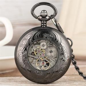 Image 5 - جديد وصول 2019 ريترو الأسود الماعز رئيس تصميم نصف هنتر الميكانيكية اليد لف ساعة جيب الأرقام الرومانية الأزرق قلادة ساعة