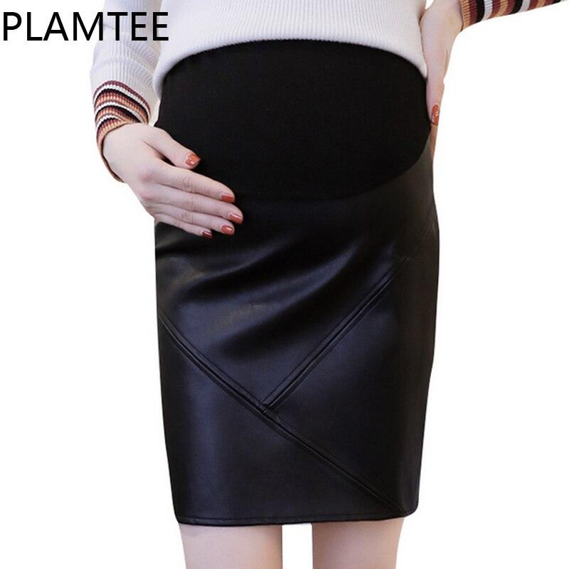 PLAMTEE Elegant Skirt For Pregnant Women Black Package Hip Mini Maternity Skirts Slim PU Leather Pregnancy Clothes Winter Autumn
