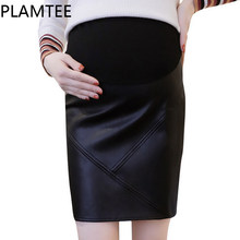 c672153233 PLAMTEE Elegant Skirt For Pregnant Women Black Package Hip Mini Maternity  Skirts Slim PU Leather Pregnancy Clothes Winter Autumn