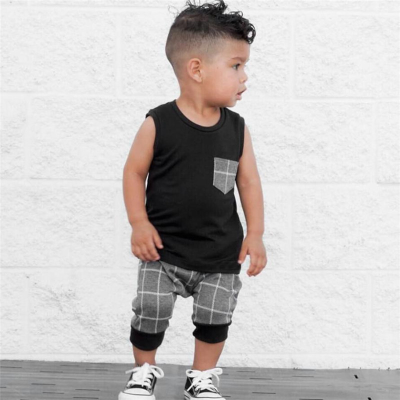MUQGEW Infant Toddler Baby Boys Girl Plaid Tops T Shirt Vest Shorts Outfits baby girl clothes Set baby boy summer clothes