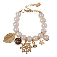Anchor Leaf Watch Star Charm Bracelets European Fashion Jewelry Strech Resin Pearl Strand Bracelet Bangle Women