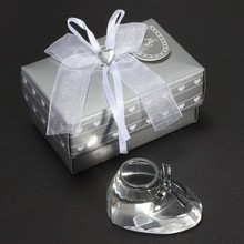 Mini Crystal Craft Clear Crystal Baby Shoe For Baptism Souvenir with Box Wedding Birthday Party Decor Kid Gifts Craft