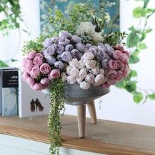 ประดิษฐ์ผ้าไหม 27 หัวชาRoseดอกไม้Bouquetบ้านโรงแรมตกแต่งดอกไม้ปลอมแต่งงานเจ้าสาวถือดอกไม้ช่อดอกไม้