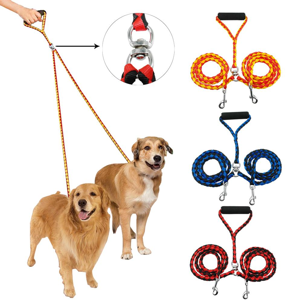 Double Dog Leash for Two Dogs 47 Inch Braided Tangle Free Dual Leash Coupler For Walking and Training Two Dogs 3 Colors