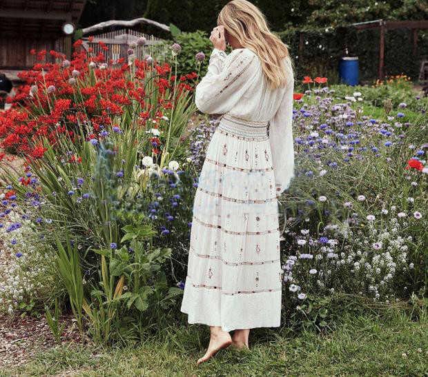 2019 新ファッション女性マキシドレス夏春草原シックな刺繍ボヘミアンカジュアルビーチ長袖白滑走路ドレス