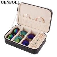 GENBOLI Mini Box Travel Jewelry Storage Bags Organizer PU Leather Casket Zipper Classic Case Portable Cosmetic