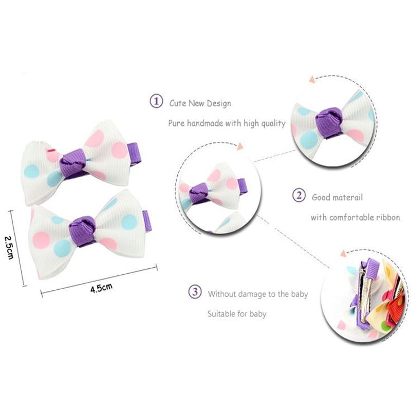 HTB1z2wwPVXXXXcdapXXq6xXFXXX5 Trendy Girls Candy Color Dot Flower Print Ribbon Bow Hair Clips - 7 Styles