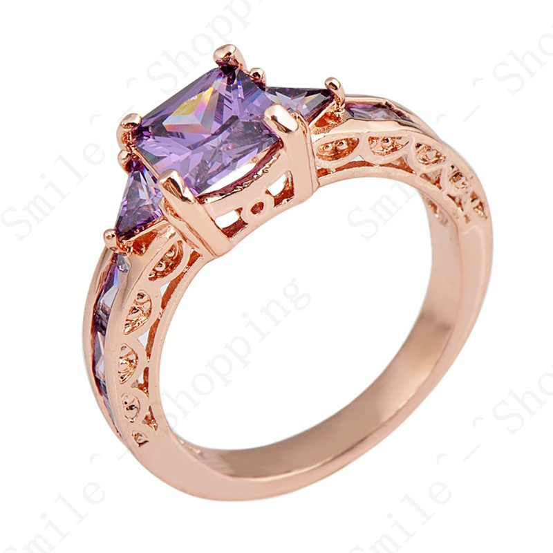 RongXing Vintage Style Purple Stone Jewelry Women Wedding Ring Anel Sz6/7/8/9/10 Rose Gold Filled Engagement Rings 2019 Newest image