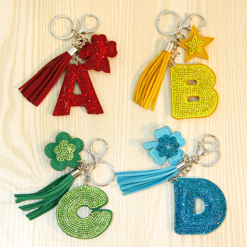 Cute Letter Keychain Glitter Crystal Sequins Key Chain Gifts for Women Llaveros Mujer Car Bag Accessories Key Ring все цены