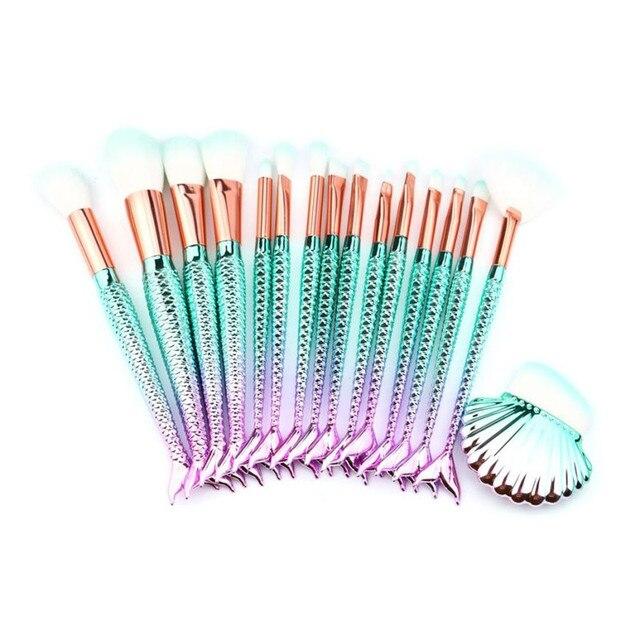16 piezas de pinceles de maquillaje Fundación ceja delineador de ojos maquillaje cosmético corrector cepillos de cola de pescado de pinceles de maquillaje, maquiagem