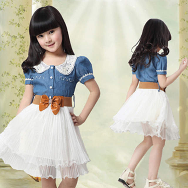 Newest Summer Girls Clothes Ball Gown Casual Belt Tutu Denim Lace Short Sleeved Dress For 6 7 8 9 10 11 12 13 14 Years Old Girls
