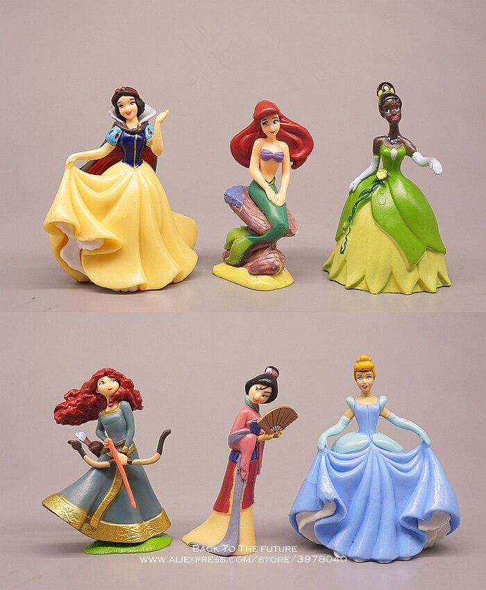 Disney Snow White Belle Princess 9cm 6pcs/set Mini Doll Action Figure Anime Mini Collection Figurine Toy Model For Children Gift
