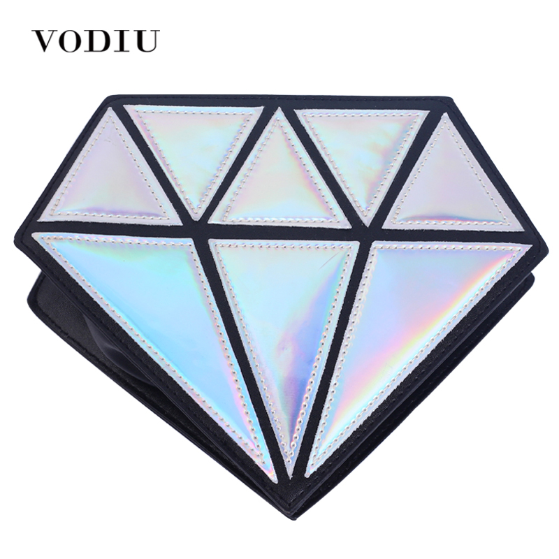 Women Fashion Leather Handbag Diamond Shape Crossbody Bag Over Shoulder Shining Laser Little Female Candy Colors Casual Summer