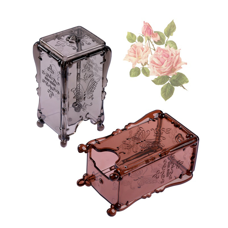 Acrylic Storage Box For Cotton Pad Cosmetic Organizer Case Cotton Ball Makeup Tools Holder Container Antique Rose Butterfly makeup organizer box
