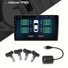 Автомобильный TPMS USB система контроля давления в шинах для Автомобильный dvd-плеер на основе Android 4 датчики сигнализации температуры шин