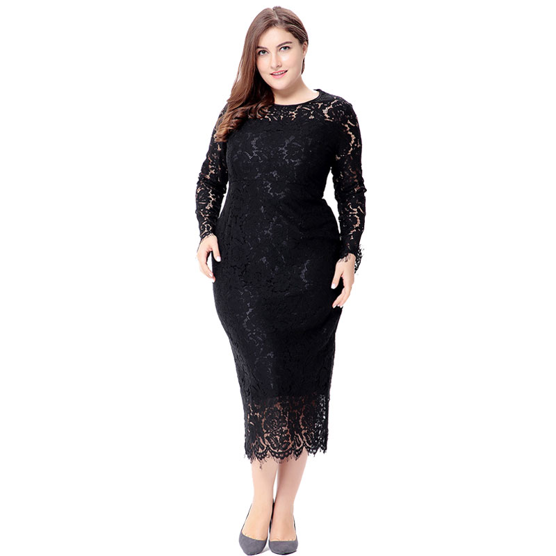 Big size 6XL 2018 Spring Woman Lace dress Casual long sleeve slim long dresses plus size Fat MM women clothing 6xl party dress